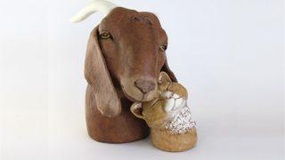 Boer Goat with Cat Sculpture
