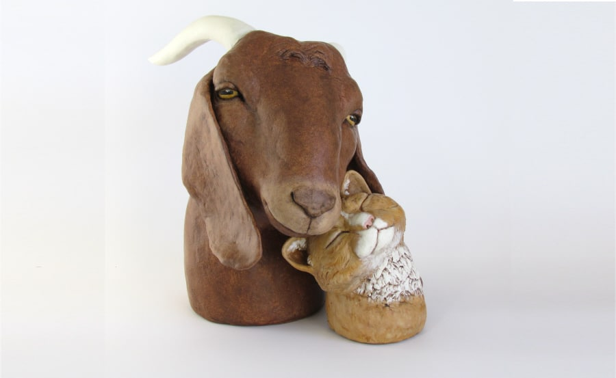 Boer Goat with Cat Sculpture