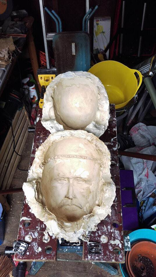 Plaster moulds for paper mache cleaned and ready.
