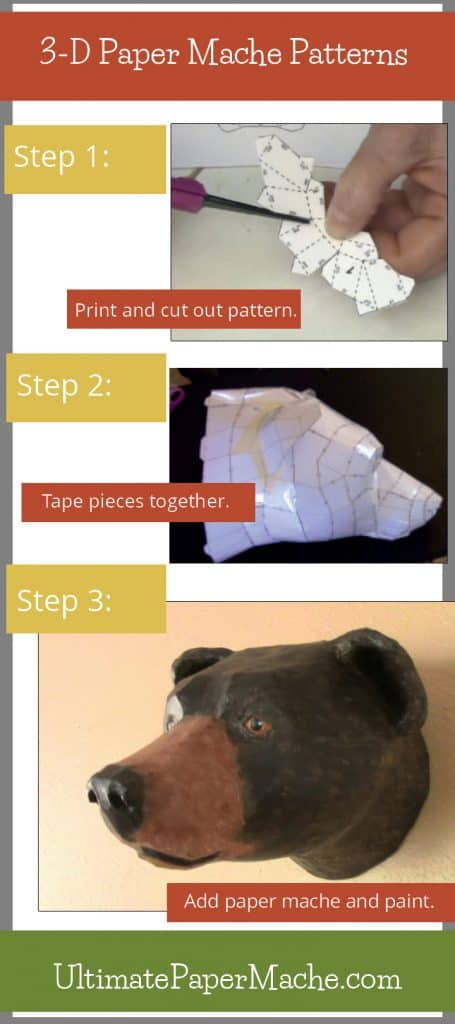 Paper mache sculpting patterns - cut out the pieces, tape them together, add paper mache, and paint.