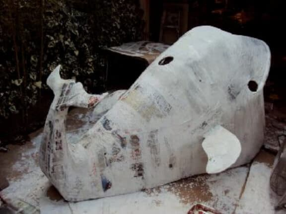 Paper Mache Whale Ready to Paint
