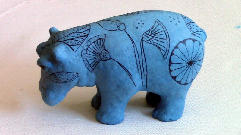 Make William the Blue Egyptian Hippo - Adding Paper Mache Clay