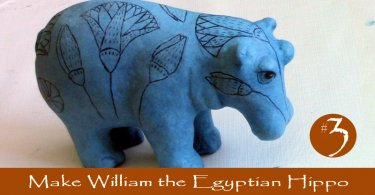 William the blue Egyptian Hippo in Paper Mache Clay
