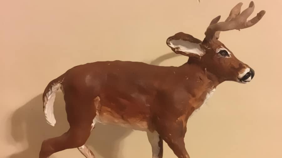 paper mache white tail deer