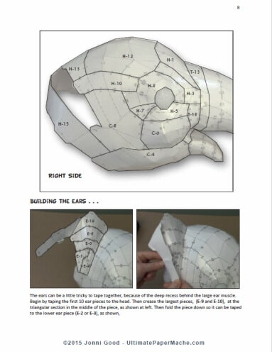 Instruction page for paper mache elephant pattern