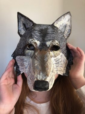 Bailey's paper mache wolf mask.