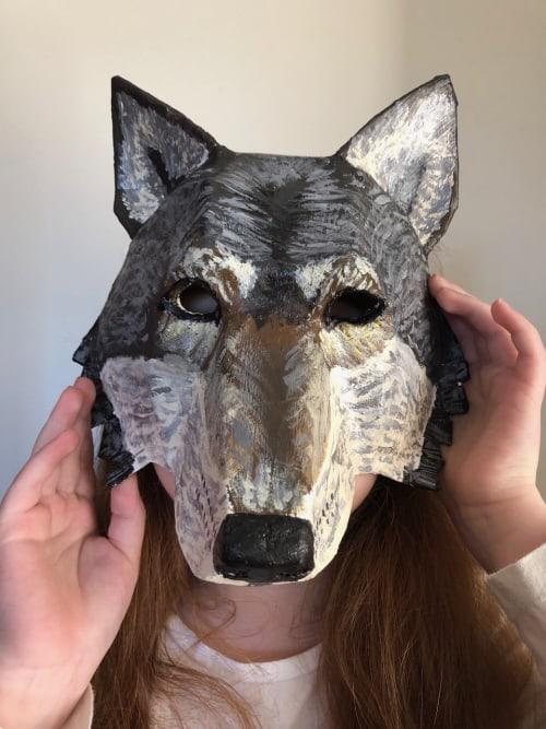 Bailey's paper mache wolf mask.