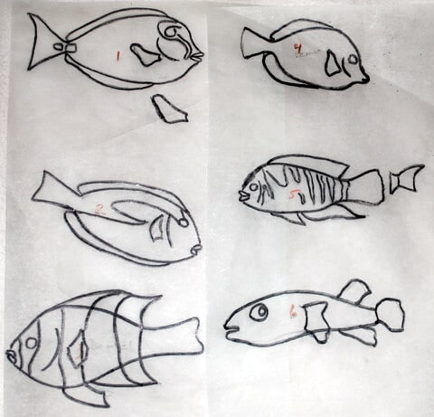 Sketches for the fish sculptures.