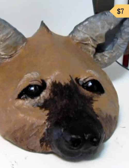 Paper Mache Hyena Mask Pattern