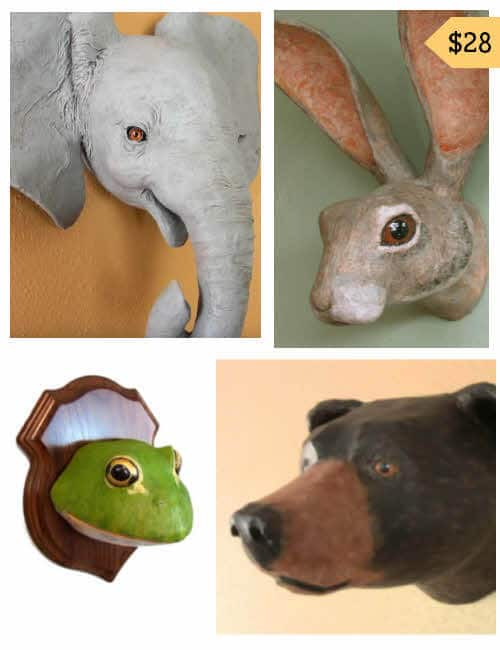 Four Paper Mache Faux Trophy Mount Patterns