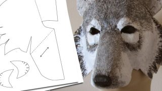 Pattern for a paper mache wolf mask.
