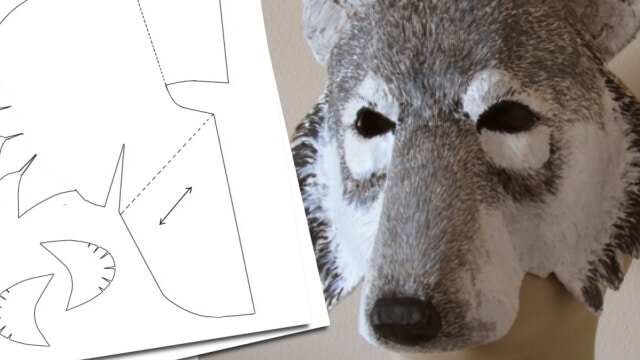 photo relating to Printable Wolf Mask Template for Kids identified as Paper Mache Wolf Mask Routine Final Paper Mache