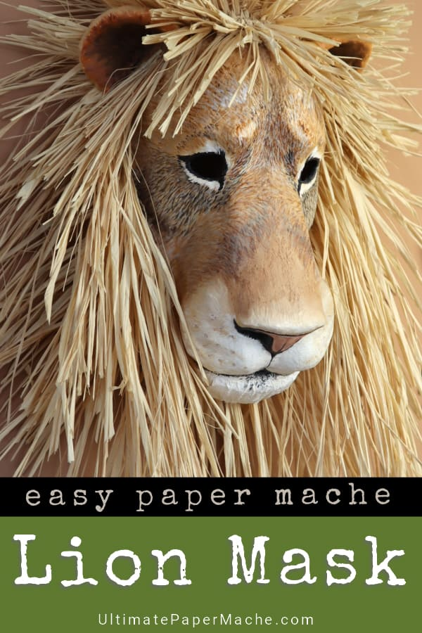 Paper mache lion mask pattern