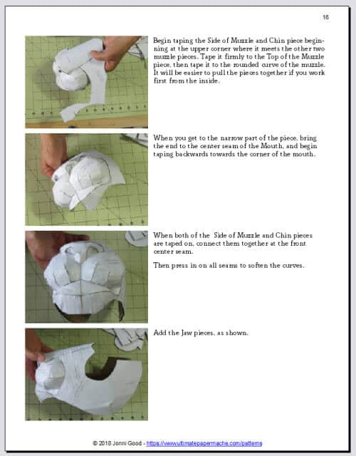 pattern instructions for lion mask