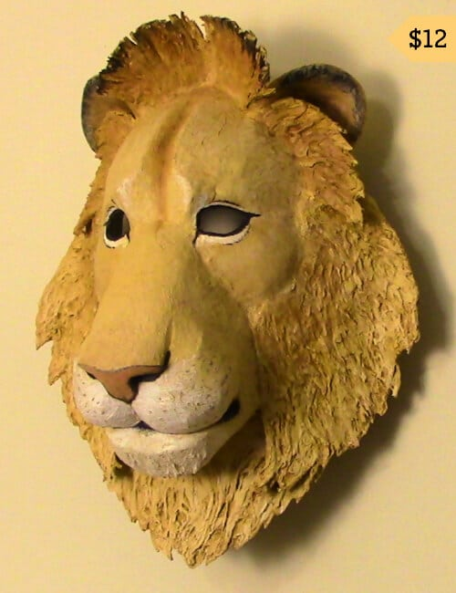 Paper Mache lion mask pattern.