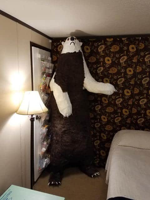Lifesized bear sculpture with fur added