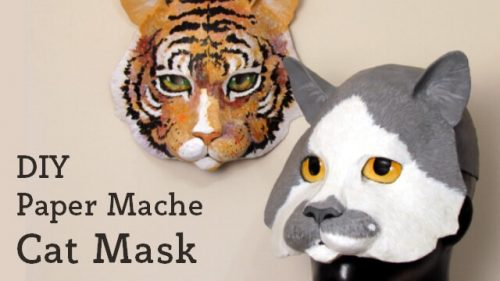 paper mache cat mask pattern