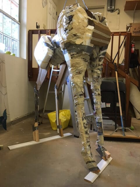 Padding the legs on the giraffe armature
