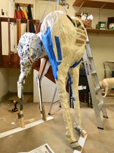 completing the giraffe body armature