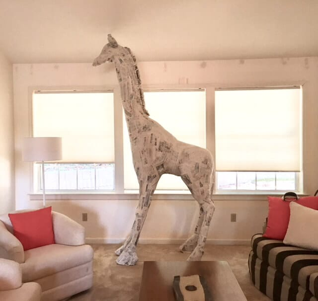 Giraffe covered with paper mache
