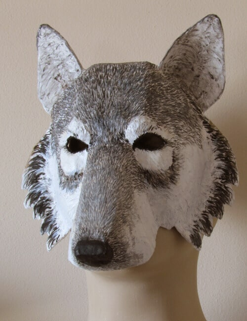 photo relating to Wolf Mask Printable identified as Paper Mache Wolf Mask Behavior Greatest Paper Mache