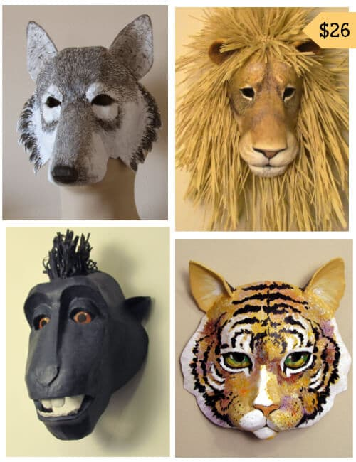 Patterns for 4 paper mache animal masks.