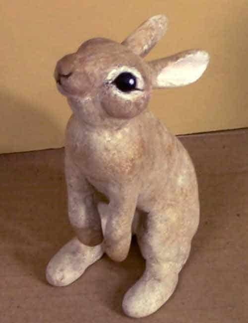 Downloadable pattern for a tiny bunny sculpture in paper mache or Apoxie Sculpt.