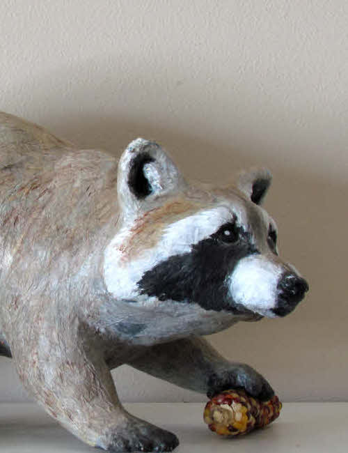 pattern for a raccoon made with paper mache