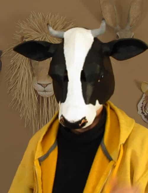Paper mache cow mask