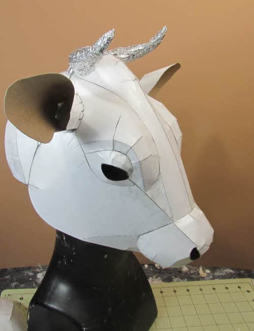 Cow Mask pattern before paper mache is added