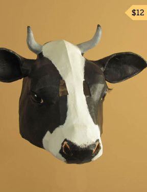 pattern for paper mache cow mask or wall sculpture