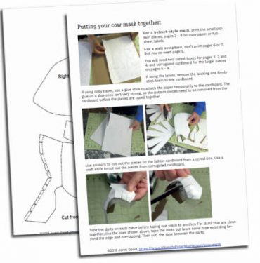 cow mask pattern pieces and instructions