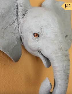 paper mache elephant head