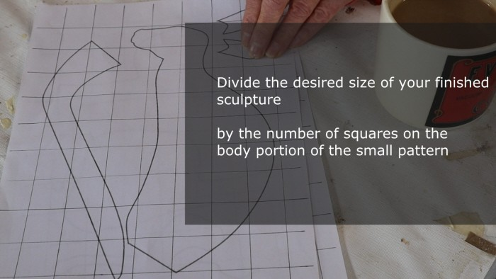 Finding the size for the grid for your paper mache animal armature pattern.
