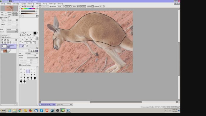 Drawing the body form for a paper mche animal.