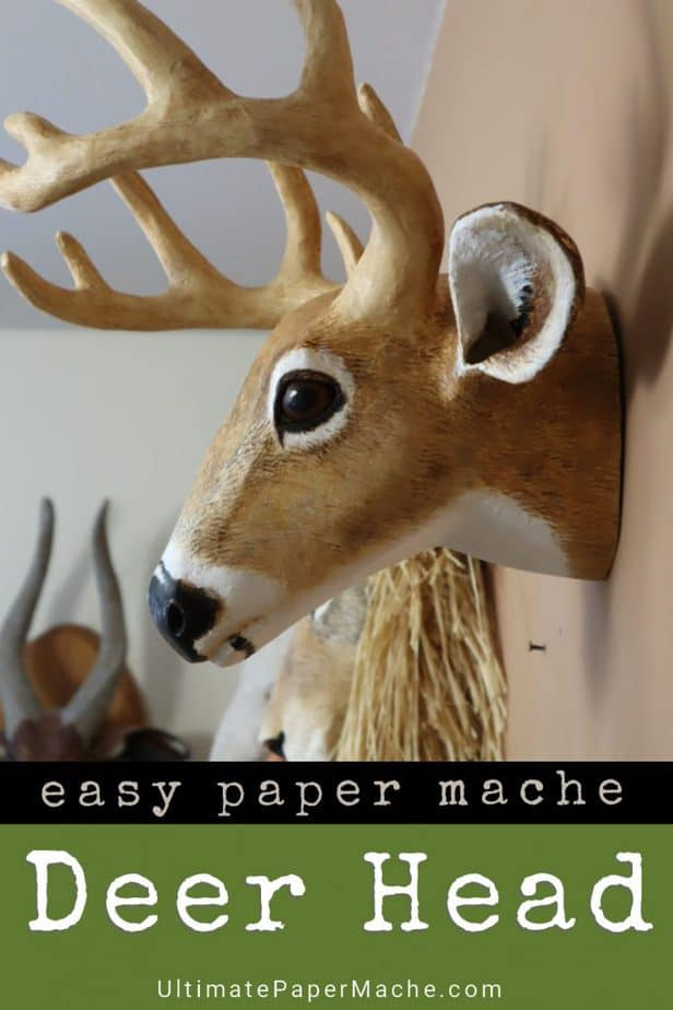 Paper mache deer head faux trophy mount.