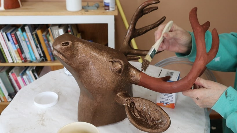 Paper mache deer head with bronze coating, Step 2