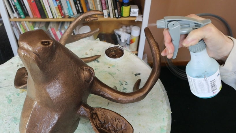 Paper mache deer head with bronze coating, Step 5