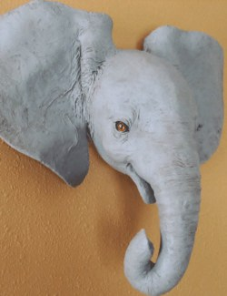 baby elephant wall sculpture pattern