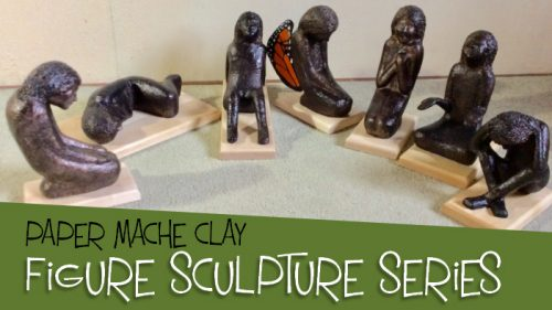 Make a figure sculpture series with paper mache clay