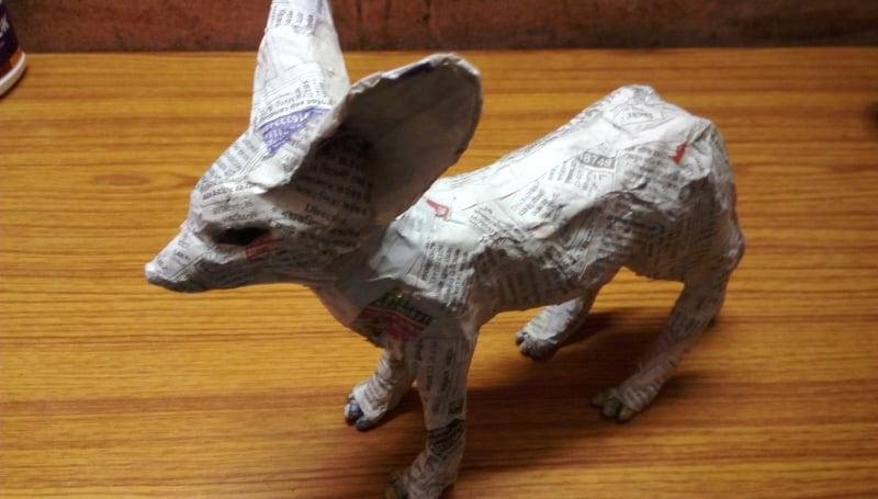 Add paper mache to the fennec fox