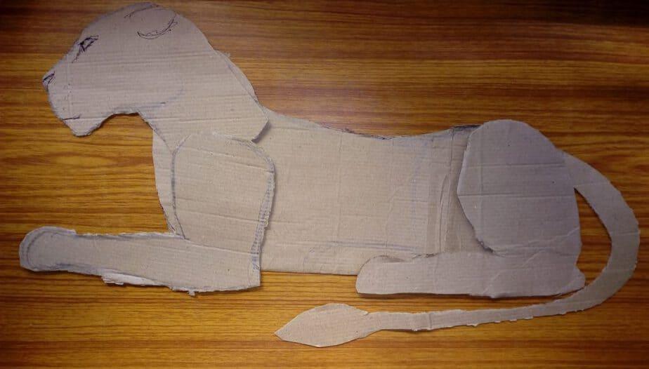 Cardboard pattern for a paper mache jaguar.
