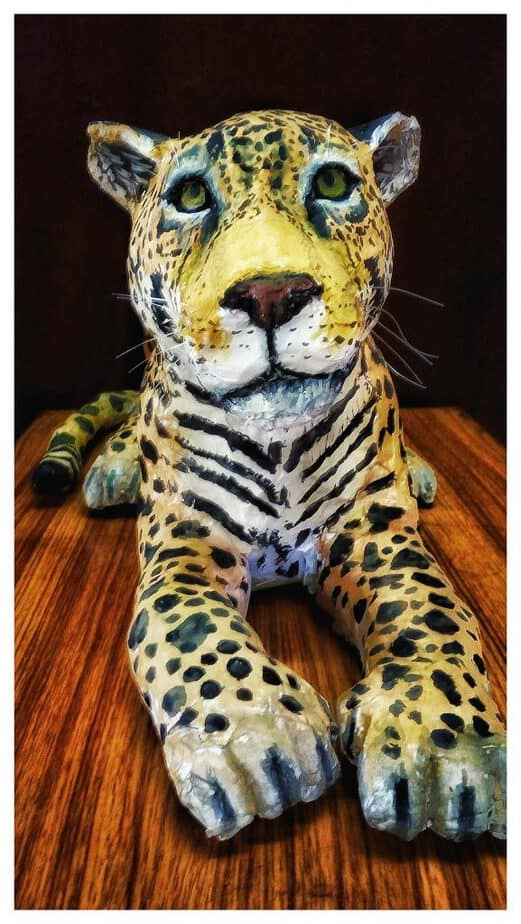 The finished paper mache jaguar.