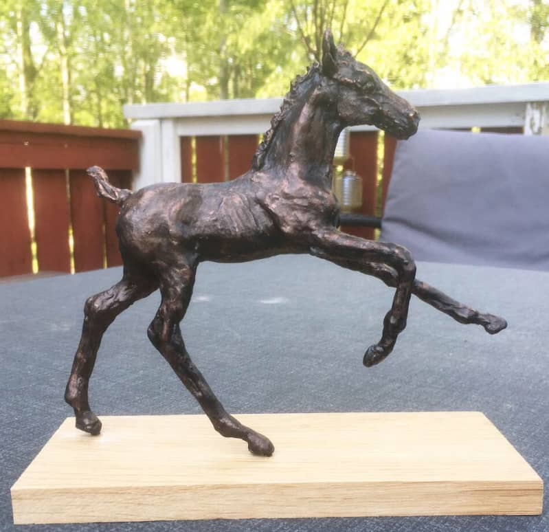 Foal sculpture finished with Magic Metallics bronze.