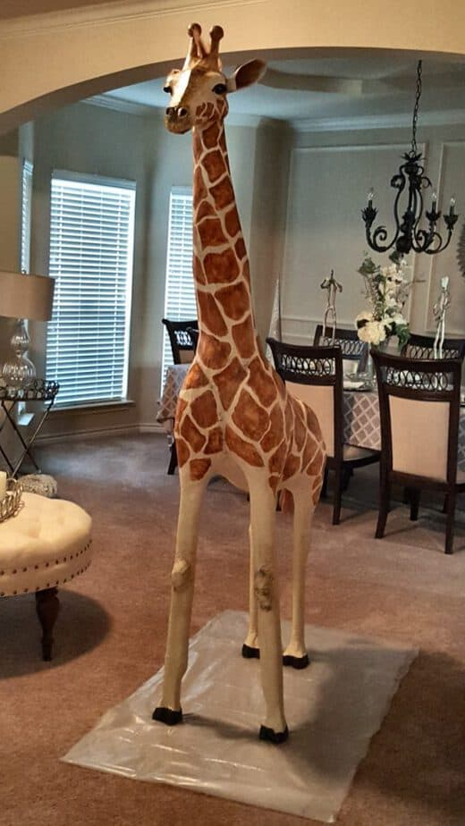 The finished paper mache giraffe.