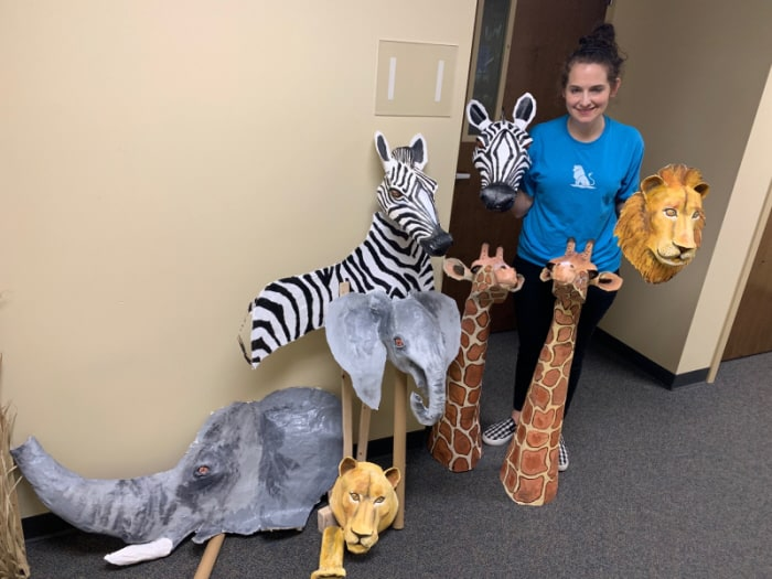 Paper mache animals for VBS.