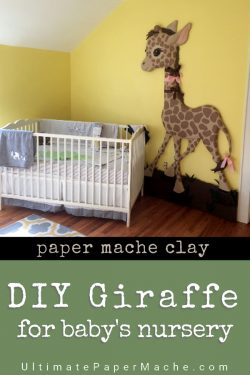 This baby giraffe was made with plywood and foam insulation from the DIY store, and covered with paper mache clay. The tutorial shows you how to make one for your baby. #DIY #nursery