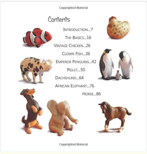 Contents of paper mache animals book.