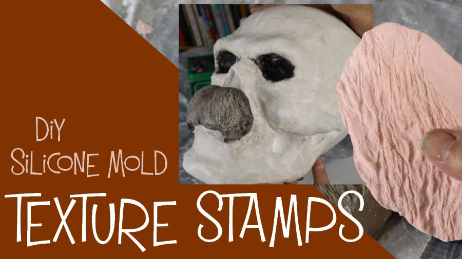DIY silicon mold texture stamps for clay.