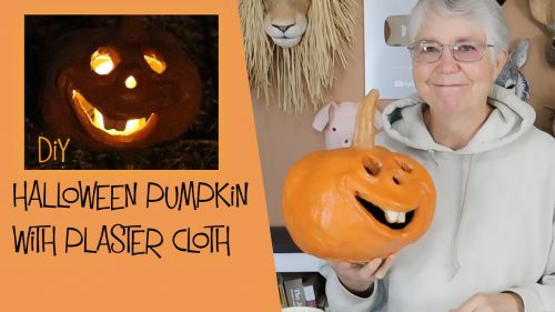 diy halloween pumpkin with plaster cloth